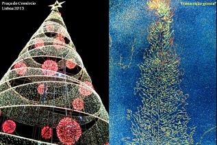 """*Fotografia de microscopia electrónica onde se observa o processo de transcrição: o gene a ser transcrito assemelha-se ao """"tronco"""" de uma árvore, enquanto as moléculas de RNA transcritas são progressivamente mais extensas do topo para a base e assemelham-se ao """"ramos"""" de uma árvore. (Imagem em http://bio3400.nicerweb.com/Locked/media/ch13/christmas_tree_rRNA.html)"""