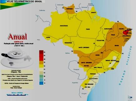 Mapa ilustrativo com a média anual de radiação solar no Brasil. Fonte [clique aqui]