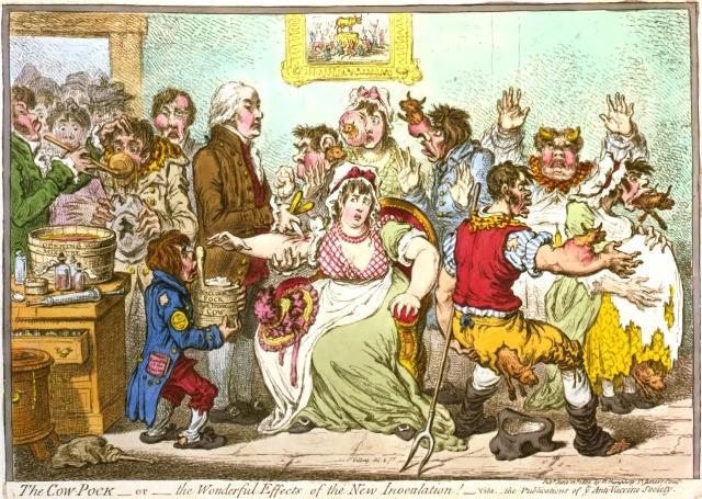 """James Gillray. """"A Pústula Bovina ou Os Maravilhosos Efeitos da Nova Inoculação!"""". 1802."""